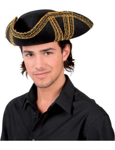 Chapeau de pirate noir à liseré or adulte