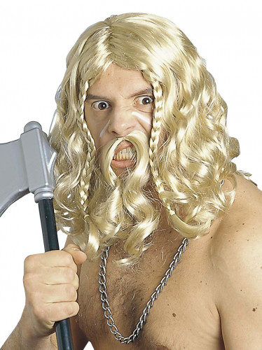 Perruque et moustache viking homme