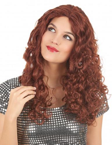 Perruque ondulée longue rousse femme