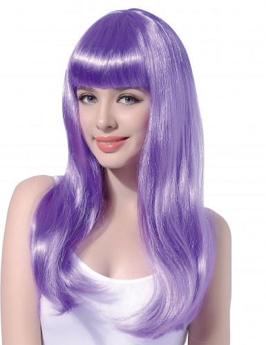 Perruque longue violette pâle à frange femme