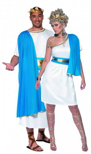 Déguisement couple de romains bleus