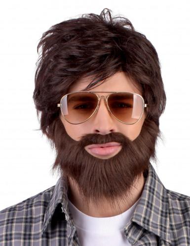 Perruque Dude avec barbe et moustache Adulte