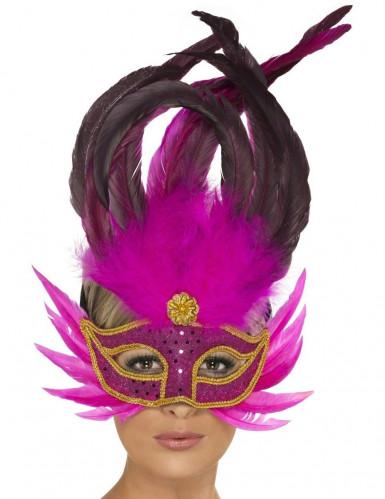Oferta: Antifaz veneciano con plumas rosas brillantes para adulto