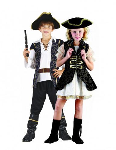 Déguisement de couple capitaines pirates chic enfants