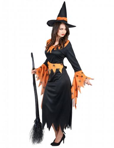 Déguisement sorcière orange et noire femme Halloween-1