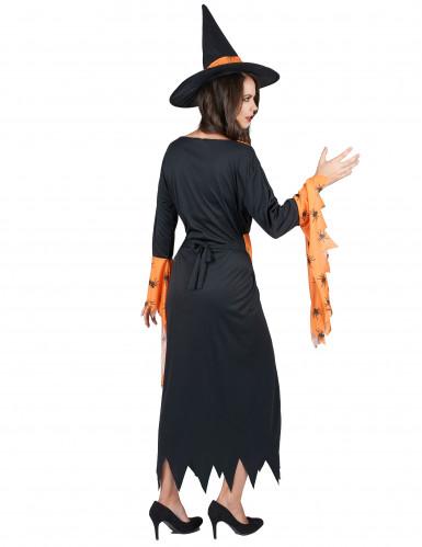 Déguisement sorcière orange et noire femme Halloween-2