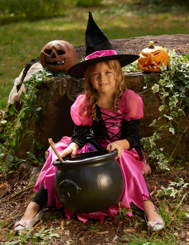 Déguisement rose sorcière fille Halloween-3
