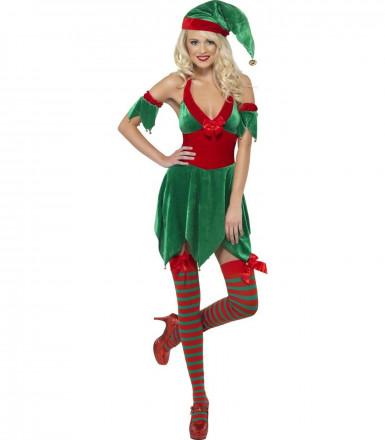 disfraz de duende de navidad para mujer por vegaoo
