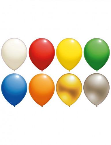 10 globos lisos (existe en muchos colores). Esos globos son de