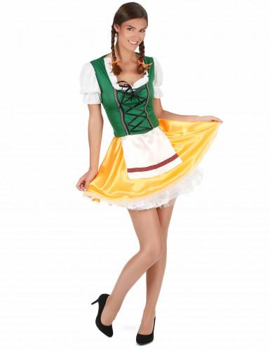 Déguisement bavaroise jaune et verte femme