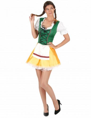 Déguisement bavaroise jaune et verte femme-2