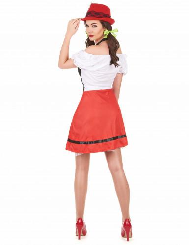 Déguisement bavaroise noire et rouge femme-2