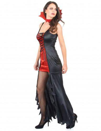 Déguisement vampire femme rouge et noir Halloween-1