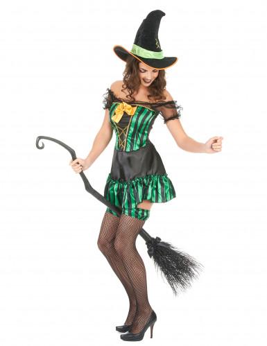 Déguisement sorcière vert et noir femme Halloween-1