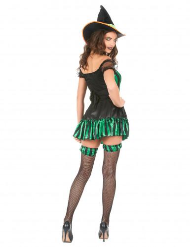 Déguisement sorcière vert et noir femme Halloween-2