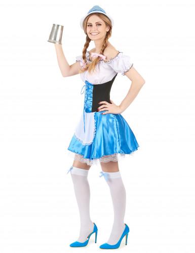 Déguisement bavaroise bleue femme-1