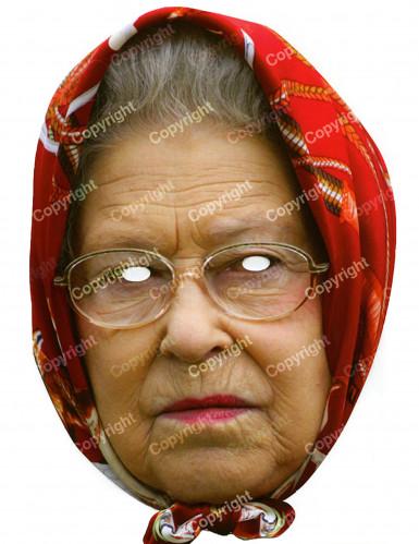 Masque carton Reine Elisabeth avec foulard