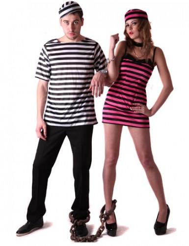 Déguisement de couple prisonnier rose et blanc