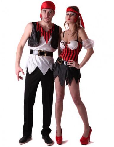 Déguisement couple pirate rayés