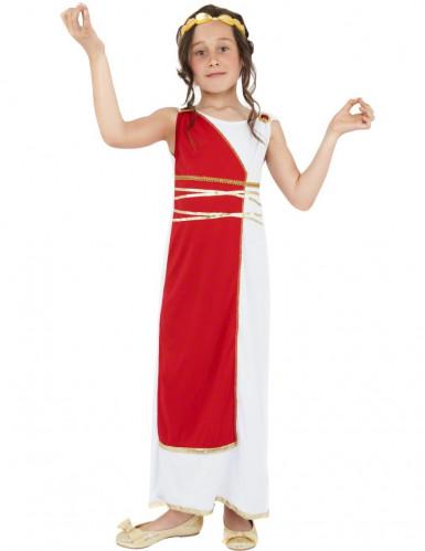 Déguisement déesse romaine rouge et blanche fille
