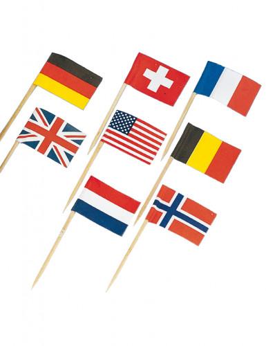 30 Mini piques drapeaux pays du monde