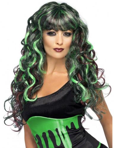 Perruque sirène verte et noire femme
