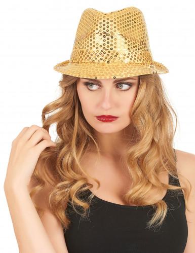 Chapeau borsalino à sequins doré adulte-2