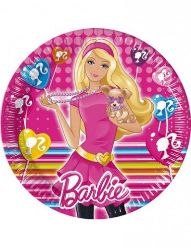 10 platos de barbie y su mascota