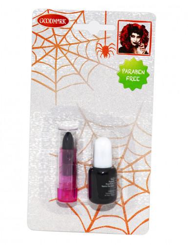 Vernis et rouge à lèvres noirs adulte halloween-1