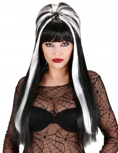 Perruque noire et blanche adulte Halloween