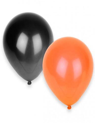 50 Ballons noirs et oranges Halloween 30 cm