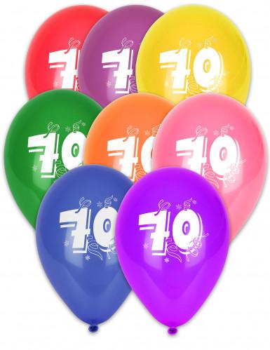 8 Ballons chiffre 70 multicolores 30 cm