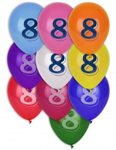 8 Ballons chiffre 8 multicolores 30 cm