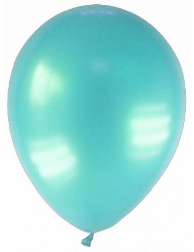 12 Ballons métallisés verts d'eau 28 cm