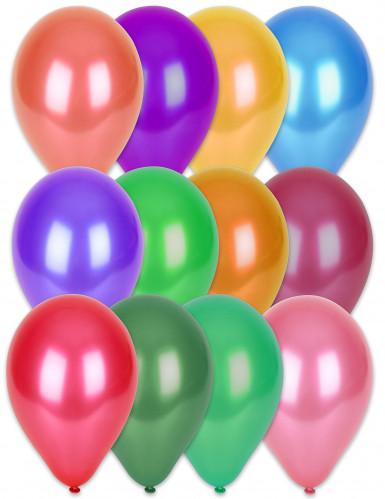 100 Ballons métalliques multicolores 29 cm