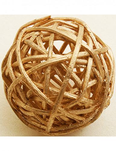 6 Boules en osier dorées 3,5 cm