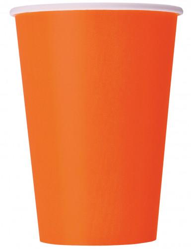 10 Gobelets orange en carton 355 ml