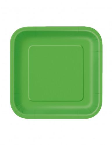 16 Petites assiettes carrées en carton vert citron 18 cm