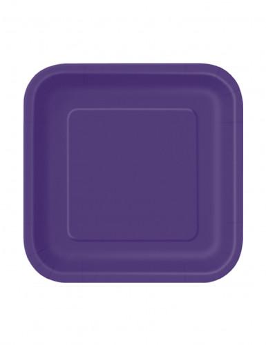 16 Petites assiettes carrées en carton violettes 18 cm