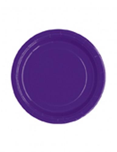 20 Petites assiettes rondes en carton violettes 18 cm