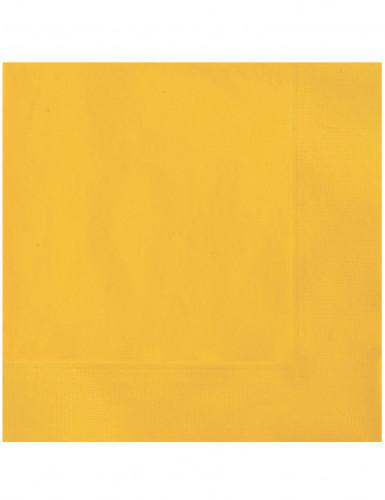 20 Serviettes en papier jaune 33 x 33 cm