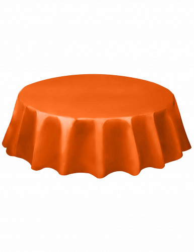 Nappe ronde orange en plastique 213 cm