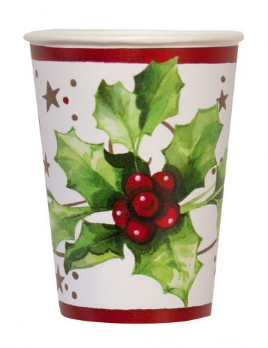 10 vasos Navidad acebo