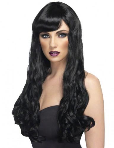 Perruque longue ondulée noire femme
