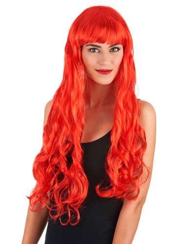 Perruque longue ondulée rouge femme