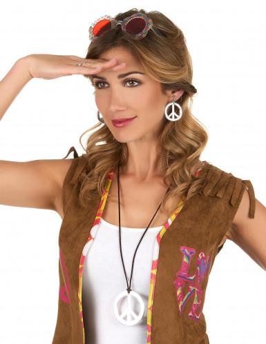 Collier et boucles d'oreilles hippie argenté plastique adulte-1