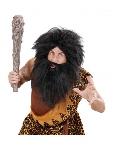 Perruque avec barbe noire adulte-2