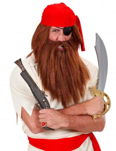 Perruque avec barbe marron adulte-1