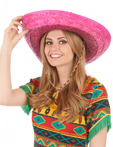 Sombrero mexicain rose adulte-2