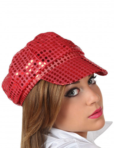 Casquette disco à sequins rouge adulte